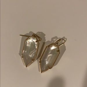Kendra Scott iridescent earrings, white with gold
